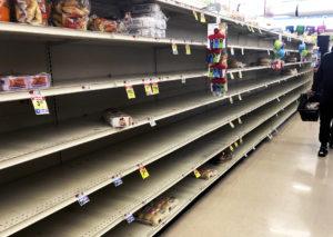 Empty shelves in a supermarket.
