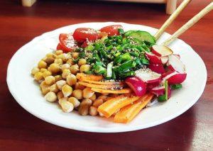 Vegan Poke Bowl recipe with chickpeas.