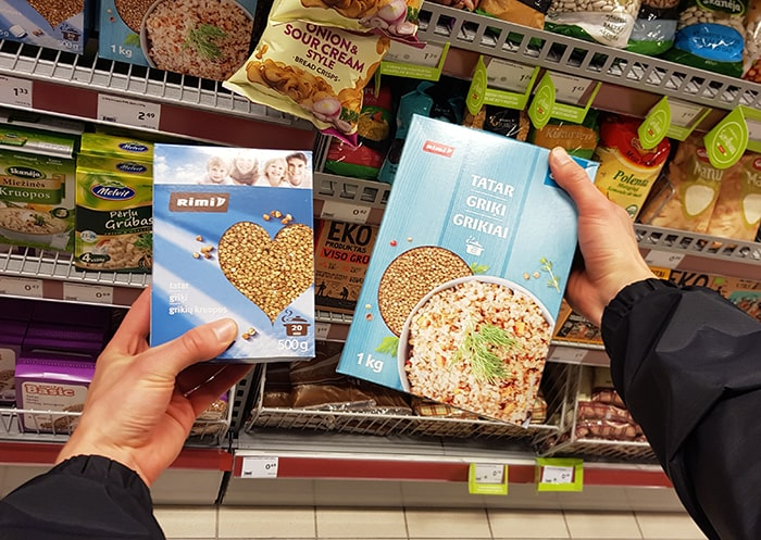Large and small size packaged buckwheat.