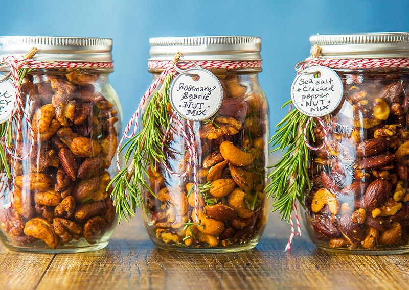 Home-made nuts jars for Christmas.
