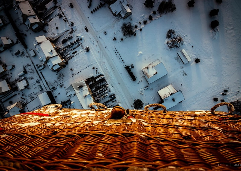 View from a hot air ballon on VIlnius during winter.